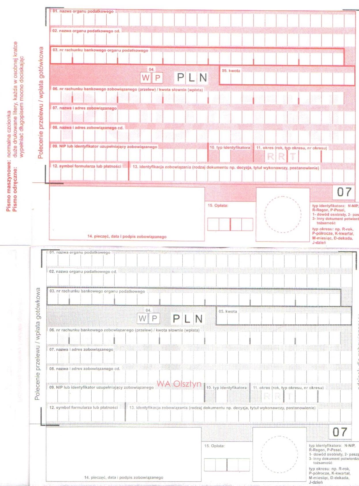 Polecenie Przelewu Wpłata Gotówkowa Podatki A6 Komplet 2 Odcinkowy